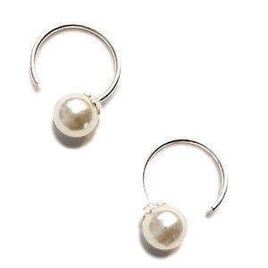 Jewelry - 925 Silver Pearl Tiny Open Hoop Earrings!
